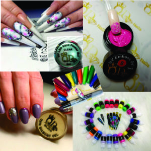 Paints, Markers and Art Gels for Nail Art.