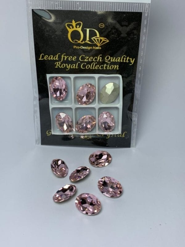 2 10x14mm Galinka Crystal 6pc Oval Rose