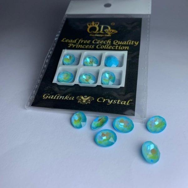 012 8x10mm Galinka Crystal 6pc Oval Aqua
