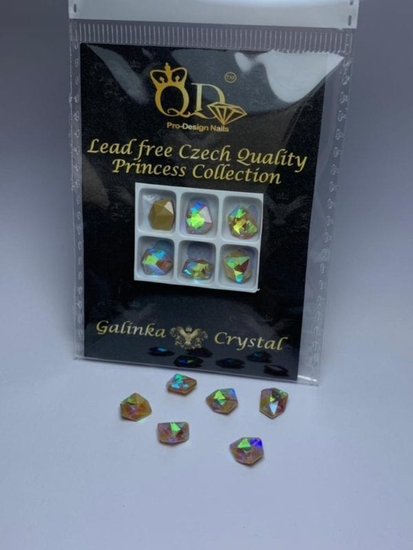 016 7x8mm Galinka Crystal 6pc Tilted Dice Greige