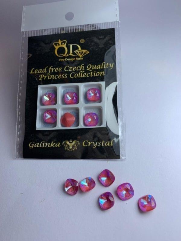 015 8mm Galinka Crystal 6pc Cushion hyacinth