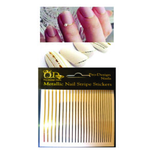 Metallic Nail Stripe Stickers_Gold