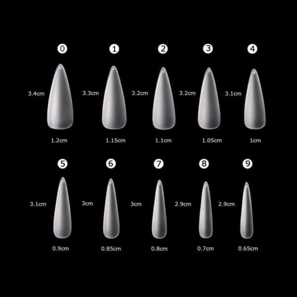 Clear_Matte Stiletto full_Cover Nail_Tips